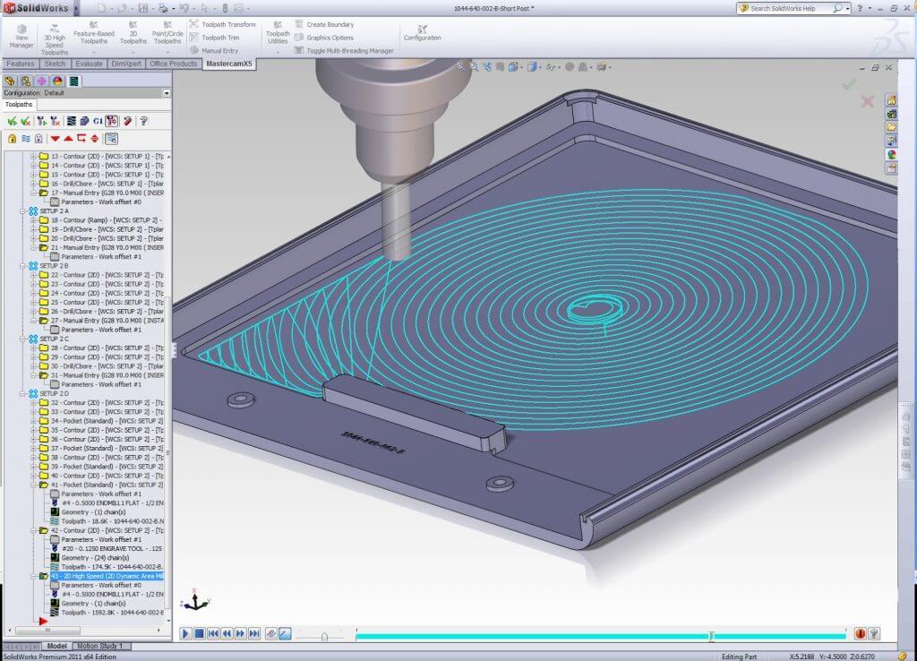 CNC machining center programming software Mastercam